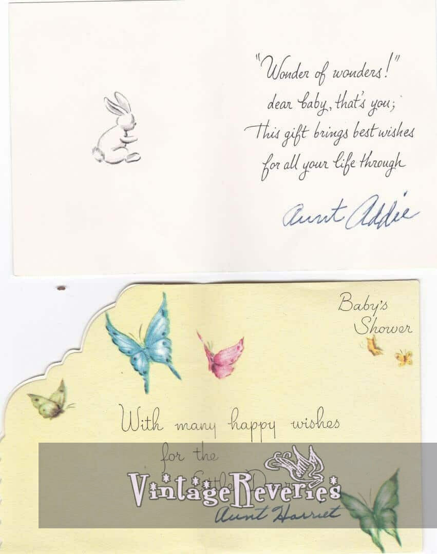 inside 1960s baby shower cards