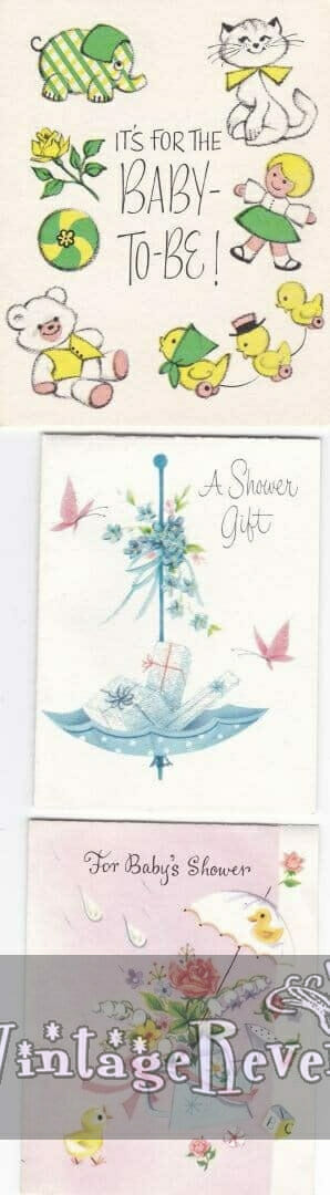 Baby shower card with an umbrella and butterflies