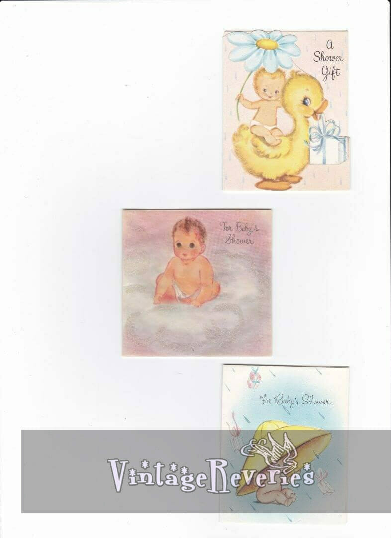 vintage baby shower card scans