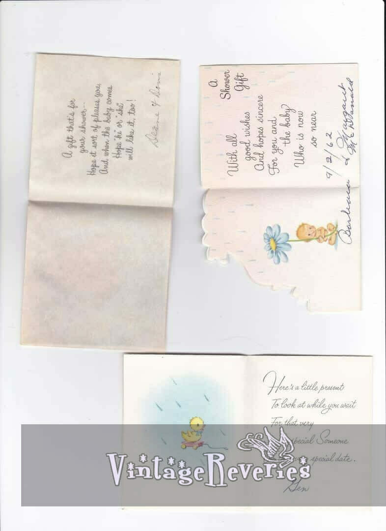 illustrated baby shower cards vintage