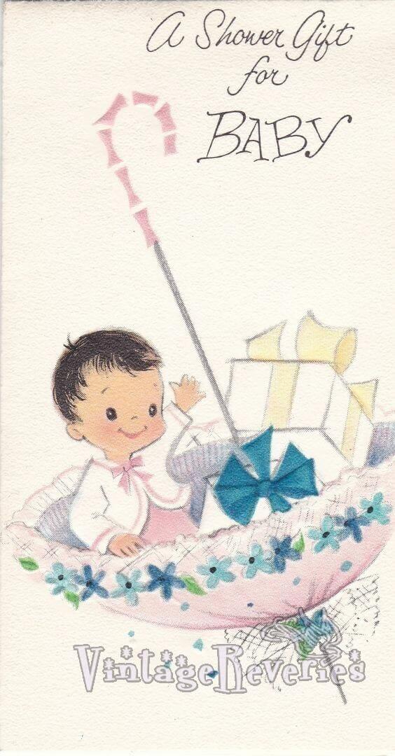 baby in an umbrella baby shower