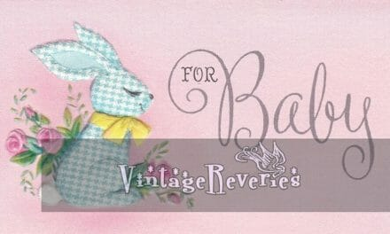 Illustrated 1960s baby shower cards with rhymes inside