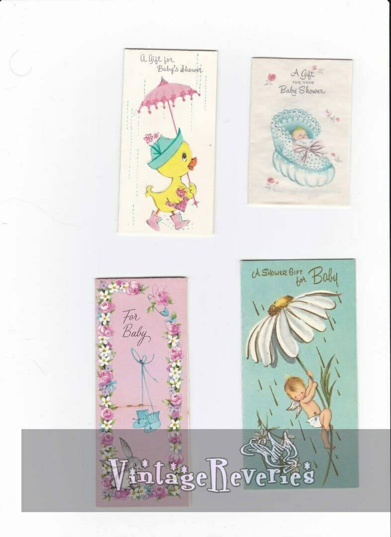 1960s illustrated new baby cards