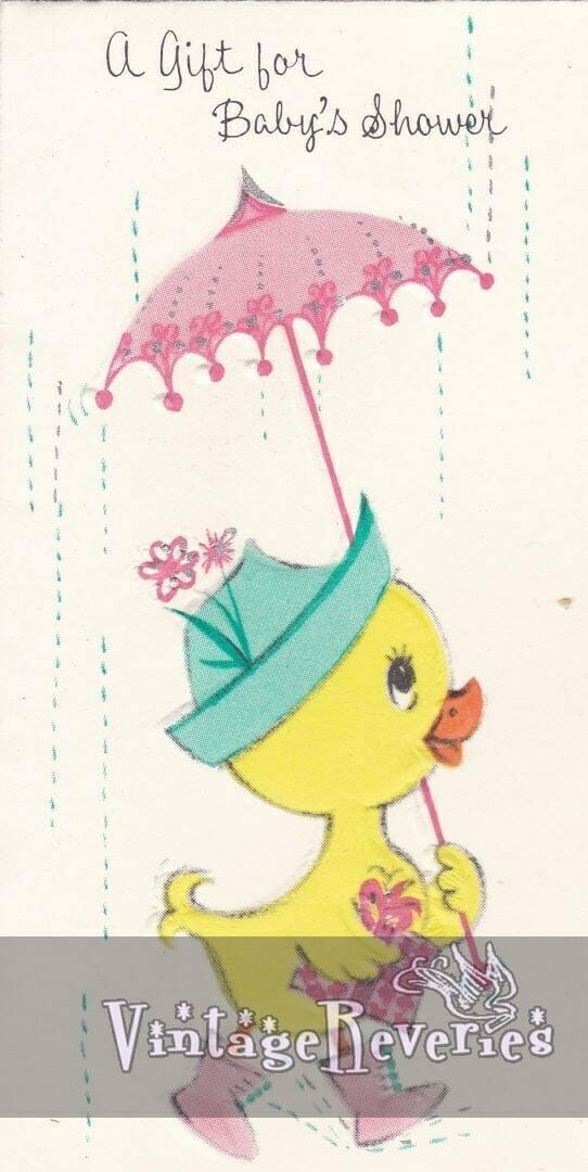 1960s duck with an umbrella illustration