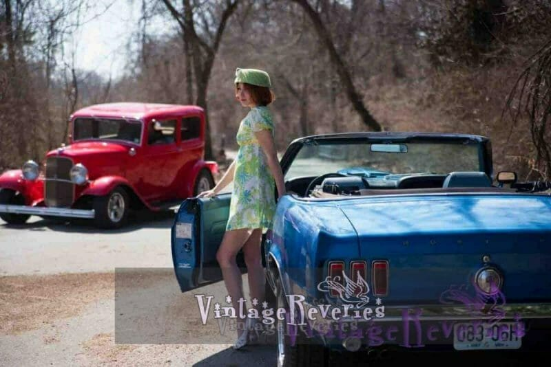 pinup model with cars