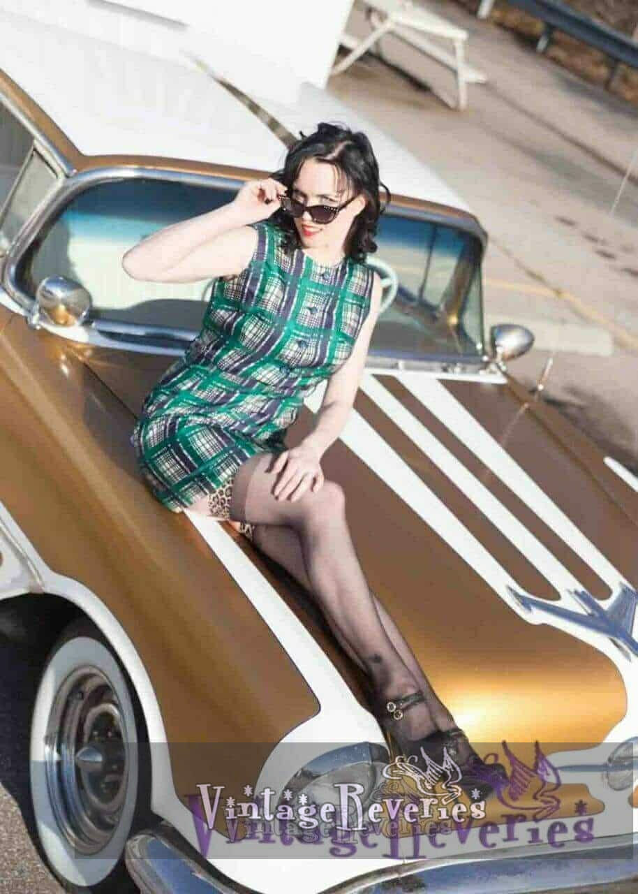 pinup model on a car
