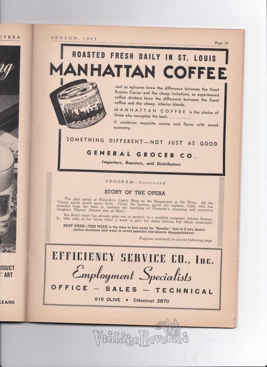 1940s Manhattan coffee advertisement
