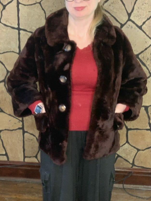 brown mouton fur coat for sale