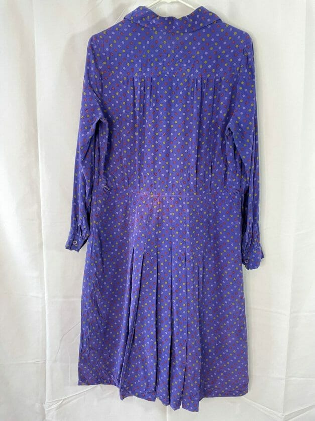 Rare large 30s silk dress in dainty floral pattern