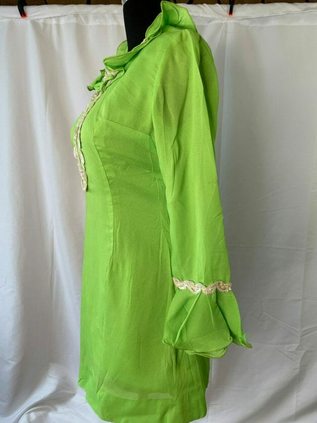 sexy short bright neon green 1960s mini-dress