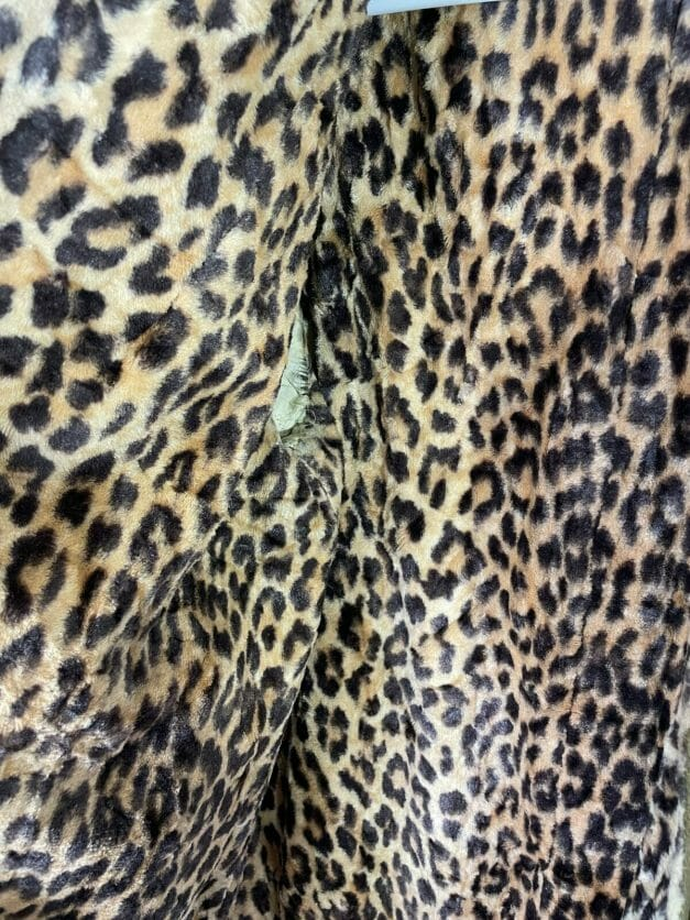large vintage 60s coat with leopard print lining