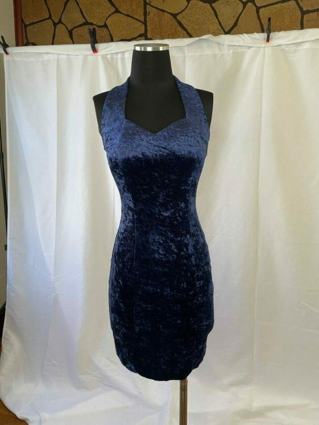 Sexy vintage blue velvet tight form fitting dress