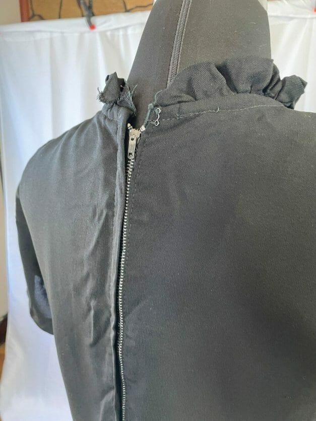 black dress with metal zipper
