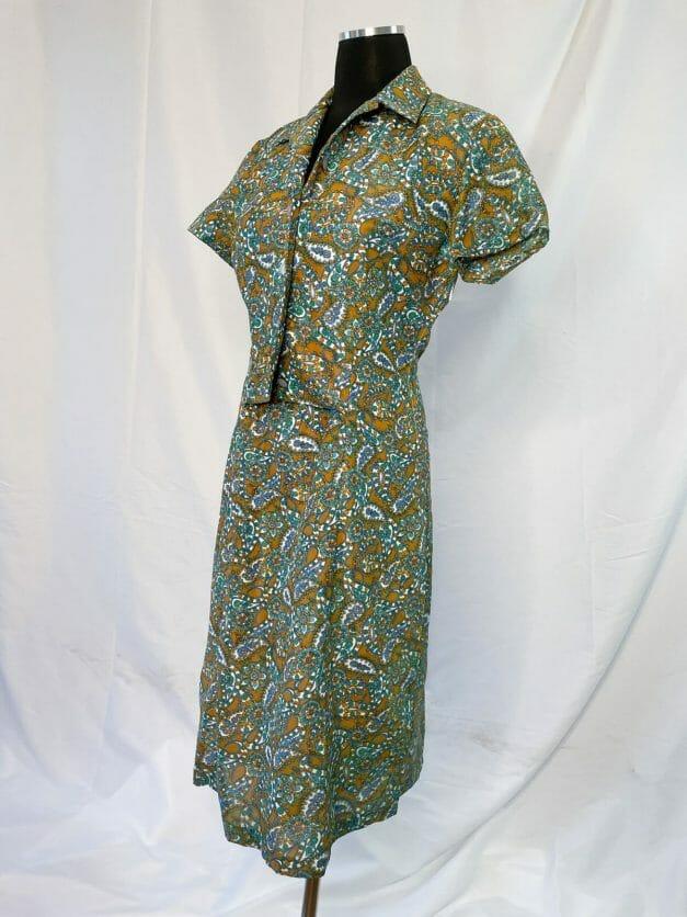 Green paisley vintage 1970s work dress