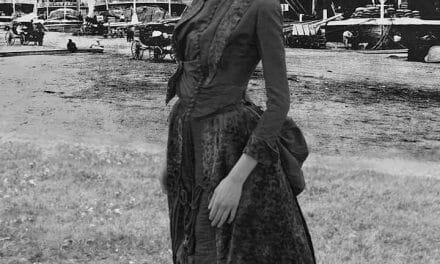 1880s going away dress outside