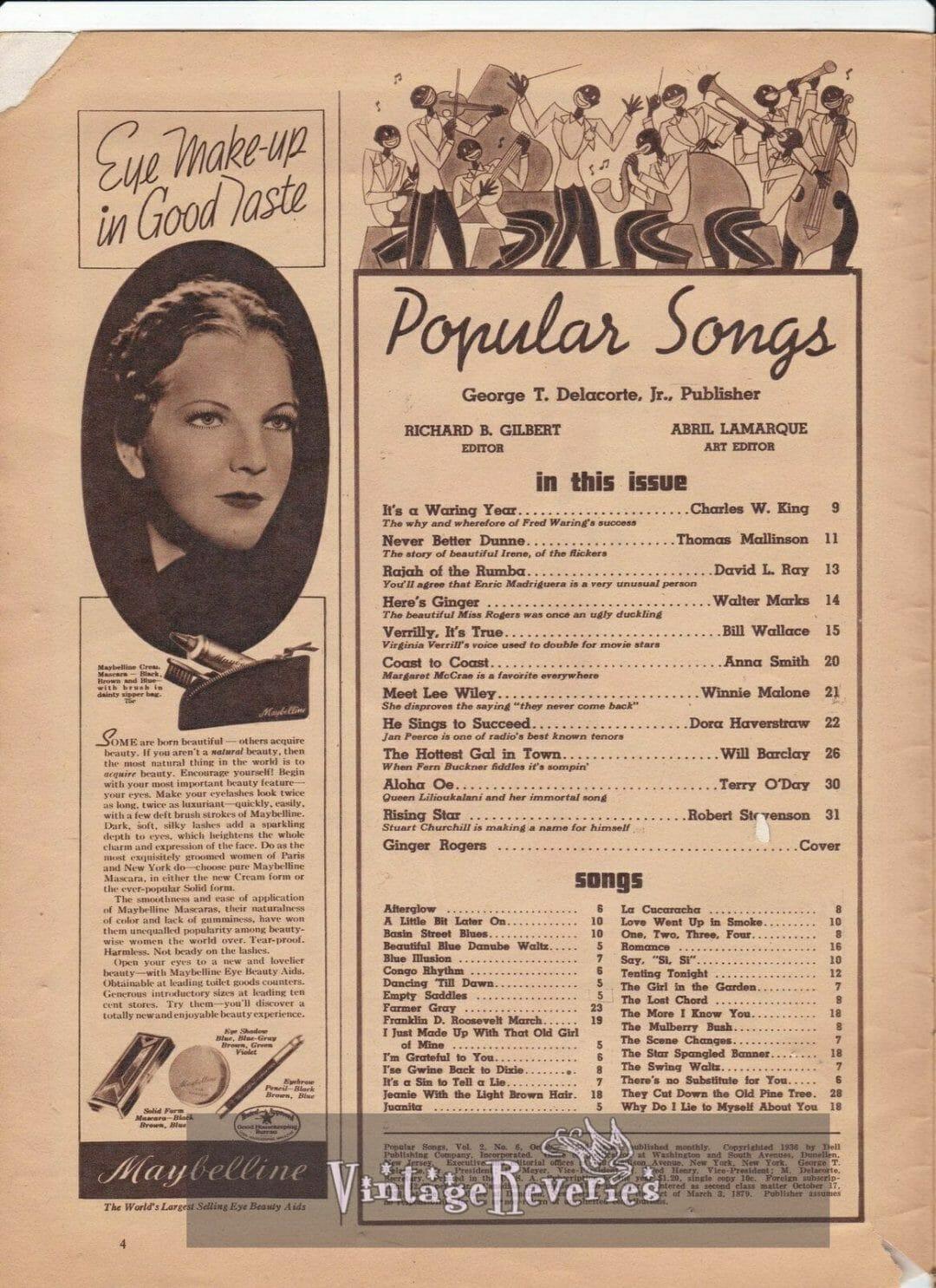 1930s Popular Songs Magazine