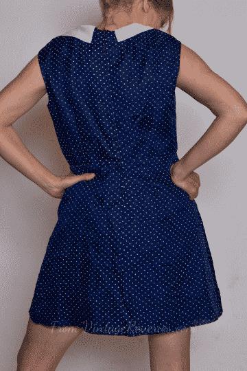 Cute classic nautical inspired navy blue and white polka dot vintage sheath dress
